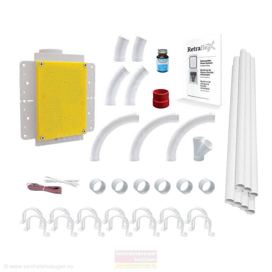 Basic Installasjonspakke 03 med rør og ekstra delepakke for Retraflex slangesystem -