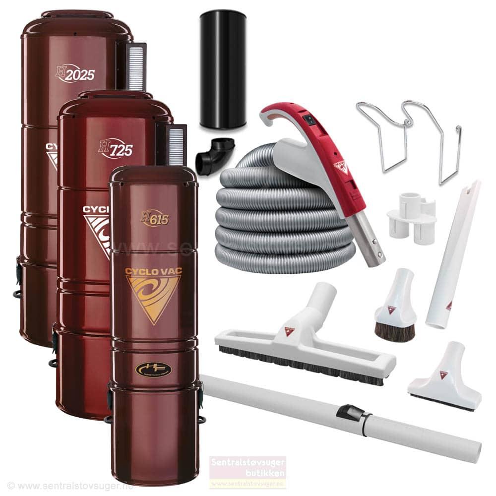 Cyclo Vac sentralstøvsuger med slangesett - Pakketilbud med valg av modell og tilbehør