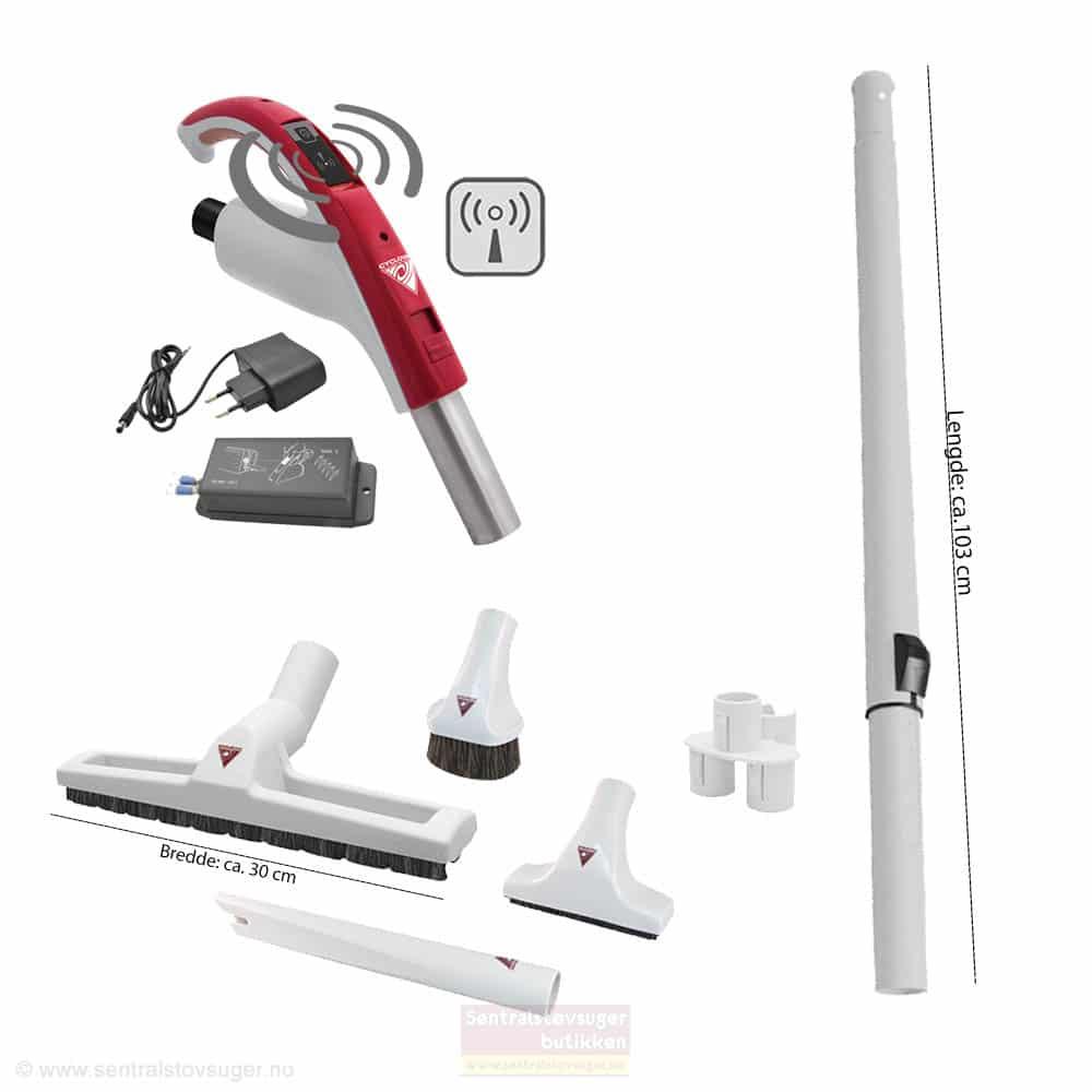 Håndtak med trådløs AV-PÅ bryter for Retraflex inkl. mottaker og børstesett med teleskoprør og munnstykker